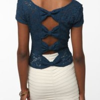 Pins and Needles Bow-Back Lace Top