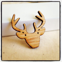Deer stag magnet  in eco friendly wood - unique handmade jewelry by onehappyleaf on Etsy