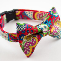 Floral Paisley Bow Tie Dog Collar