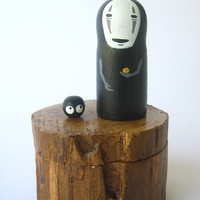 Spirited Away No Face TEAK WOOD BOX doll Ghibli figure 52