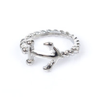 Silver Anchor Rope Ring - Unique Vintage - Prom dresses, retro dresses, retro swimsuits.