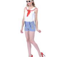 Blue & White Striped Button Up Shorts - Unique Vintage - Prom dresses, retro dresses, retro swimsuits.