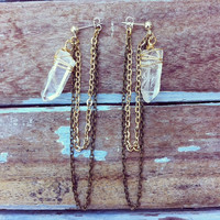 Quartz Point and Chain Chandelier Stud Earrings