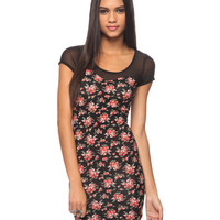Mesh &amp; Floral Bodycon Dress | FOREVER21 - 2000034664