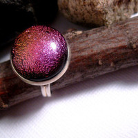 Pink Champagne Magic Moon Ring  Glass Dome  by FashionCrashJewelry