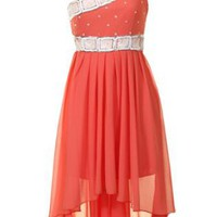 Coral Hi-Low Chiffon One Shoulder Beaded Dress