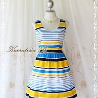 Jazzie lll - Spring Summer Sundress Stripe Dress Color Stunning Print Simply Party Dress