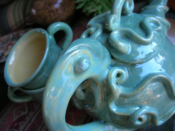 Tea Set Sea Green Turquoise Squid Octopus Tentacle by skybirdarts