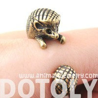 3D Realistic Hedgehog Animal Wrap Ring in Bronze Sizes 4 to 9 US