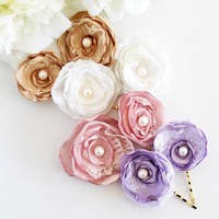Wedding Hair Accessories - Set Of 2 Bronze Silky Satin Hair Flowers on Luulla