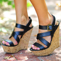 Walk This Way Wedges: Black | Hope's