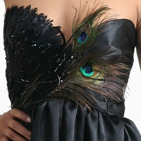 Raging Raven Cocktail Corset Gown Peacock Feather Black, Beading dress | lovekarlak - Clothing on ArtFire
