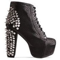 Jeffrey Campbell Lita Spike in Black Snake Silver at Solestruck.com