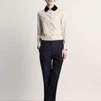 Silk Velvet Collar Check Shirt - Luna & Curious