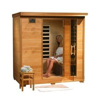 "LuxExclusive 4 person Infrared Sauna with Carbon Heater SA1443: 76"" x 70"" x 48"""