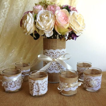 burlap and lace 10 hour tea candles and vase wedding decorations ...