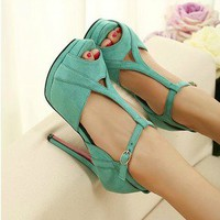 sweet elegant high-heeled shoes sandal Slugged bottom