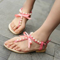 Hansenne  Simple sweet lovely bowknot pearl campagus pink sandal