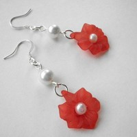 Frosted Glass Flower Earrings-Red with white pearl | JabberJewels - Jewelry on ArtFire