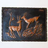 Vintage 1960s Mid century Italian copper deer wall plaque