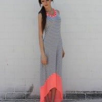 Neon Trim Stripe Hi-Low Dress- Pink
