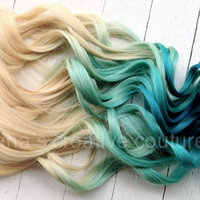 """Mermaid Blonde Ombre, Blonde Hair extensions dipped in Pastel Blue faded into Ocean Blue, 7 Pieces,18"""", Ready To Ship"""