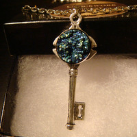 Blue Green Faux Druzy / Drusy Key Necklace in Antique Silver (1121)
