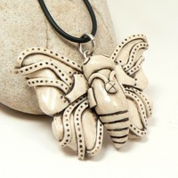 Butterfly Jewelry Faux Carved Bone Steampunk BugInsect Wings Screw | DesertRubble - Jewelry on ArtFire