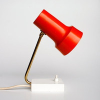 Tiny Orange Table Lamp, 70's Vintage Desk Lamp