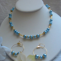 Blue Glass Pearl and Gold Necklace by PattysDreamDesigns on Etsy