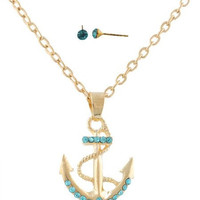 Gold Anchor Necklace with Tiffany Blue Rhinestones