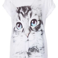 Petite Cute Kitty Print Tee