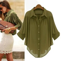 Loose Chiffon Blouse Shirt
