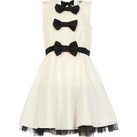 Cream Lola Loves triple bow prom dress