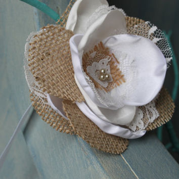 Ribbon Wrist Corsage in Burlap Lace and Satin - Wedding Corsage - Bridal Party Corsage - Satin Flower Corsage - Flower Bracelet