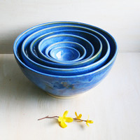 Blue Nesting Bowls - Handmade Ceramic Blue Pottery Handmade Bowls Made in the USA Indigo Six Piece Set of Stacking Bowls Ready to Ship