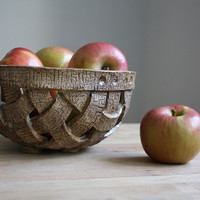 Ceramic Bowl - Handwoven Stoneware Basket - Handmade Bowl
