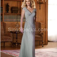 A-line Silver V-neck Applique Floor Length Taffeta Mother of Bride Dress-SinoSpecial.com