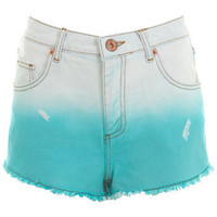 Mint Dip Dye Denim Short - Miss Selfridge