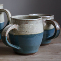 Set of Two Ceramic Mugs - Blue and White Stoneware Mugs