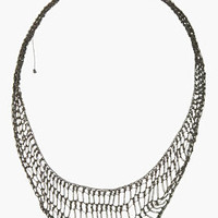Arielle De Pinto Oxidized Silver Handmade Midnight Lattice Collar Necklace for women | SSENSE