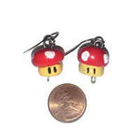 Red Gamer Mushroom Earrings, Mario Mushrooms, Mushroom Jewelry, Video games