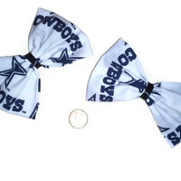 Dallas Cowboys Bow Set, Football team hair bows, Dallas Cowboys fabric,