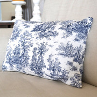 Navy and White Toile Pillow Case with Pillow Included