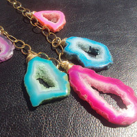 Agate Druzy Drusy Slices Hot Neon Rainbow Gold by amandalynneLUXE