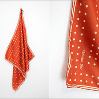 Christian Dior silk scarf / rust orange polka dot by OmniaVTG