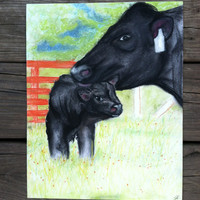 Pastel Artwork - Mom and Baby - Cow Art - Country Home Decor