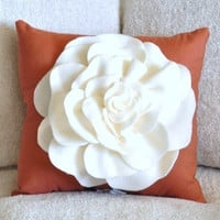 Throw Pillow Ivory Rose on Burnt Orange Pillow 14 x 14 by bedbuggs