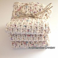 Set of 3 Eco Spa Wash Cloths Handmade Crochet Washcloth Dishcloth Cotton by MoomettesCrochet