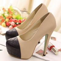 wishlove —Contrast color stitching lattice Slugged bottom high-heeled shoes